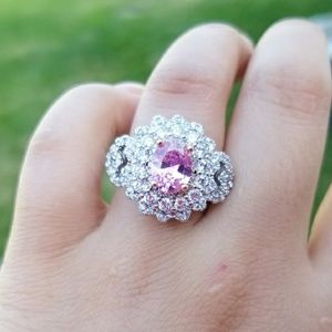 S925 silver filled pink sapphire cocktail ring